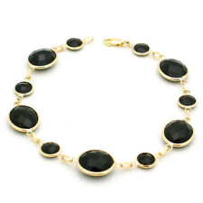 14K Yellow Gold Bracelet Faceted Fancy Cut Round and Oval Black Onyx 8 Inches
