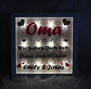 """Beleuchteter Bilderrahmen """"Oma wir haben dich lieb"""" - Enkelkinder - Geschenk"""