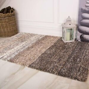 Brown Neutral & Gray Striped Thick Shaggy Anti Shed Quality Warm Living Room Rug
