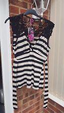 Super Black & Cream Striped Top, Sleeveless, Hip Length, Size 16, NWT