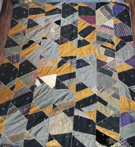 Antique/Vintage Patchwork CRAZY Quilt, Wool, Tweeds, Heavy!! 65 X 60 Pa. Made