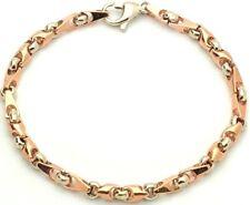 """14k White & Rose Gold Handmade Fashion Link Bracelet 7.75"""" 5mm 15.3 grams"""