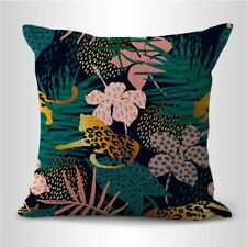 summer exotic jungle wild cat plants cushion cover decorative pillow