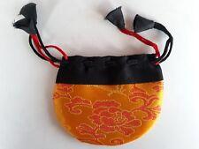 BOURSE A PENDULE COULEUR ORANGE - TISSUS BROCART - pochette sac poche sachet
