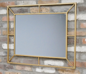 Large Gold Mirror Rectangle Art Deco Metal Wall Hanging Portrait Landscape New