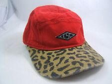 ESC Thin Patch Hat Red Leopard Print Strapback Baseball Cap