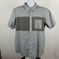 Oakley Mens Gray Geometric S/S Casual Button Shirt Sz XL