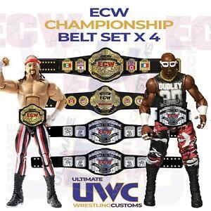 ECW Championship Belts Custom Set x 4 for Mattel/Jakks/Elite Figures WWF WCW WWE
