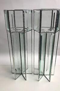 "Set Of 2  12"" Tall Beveled Leaded Glass Tea Light Candle Holders Prisms Rainbow"