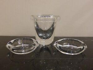 STEUBEN ART GLASS CIGARETTE HOLDER AND TWO ASHTRAYS