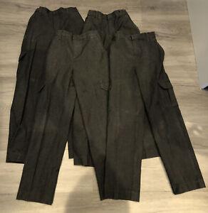 4 X Boys TU Dark Grey Charcoal School Cargo Pocket Trousers X 3. Age 9 Years