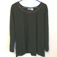 Collections Etc. Women's Long Sleeve Black Shirt with Sequins XXL NWOT