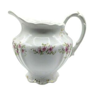 "Victorian Etruria Mellor Co Ceramic Ironstone 7"" Pitcher Pink Flowers Gold Trim"