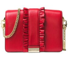 10d8734ecb82 New Michael Kors Jade MD Gusset Clutch two rows ruffles bag leather snap red