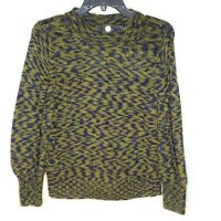 Margaret O'Leary Sweater Green Blue Long Sleeve Crew Neck Knit 100% Cotton Small