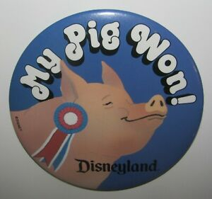 """State Fair Pig Races Button """"My Pig Won"""" Disneyland Themed Special Event 87-88"""