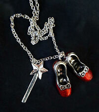 Wizard of Oz Ruby Slippers Wand Charm Pendant Silver Necklace Childrens Kitsch