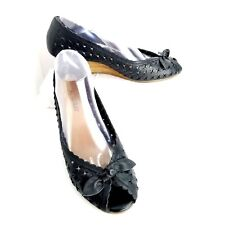Aerosoles Slip On Wedges Size 9 Black Peep Toe Bow Star Cut Out Shoe Heel Womens