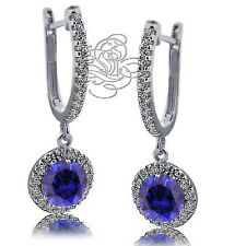2.89 CT HALO DROP BLUE SAPPHIRE EARRINGS 14K WHITE GOLD PLATED OVER SILVER