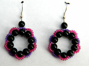 Circle of Life Glass Pearl Earrings in Black with Pink and Purple Trim