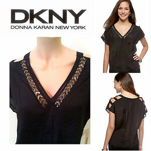NWT Womens DKNY Jeans BLACK Beaded Embroidered Blouse Shirt Top  XS SM MED $69