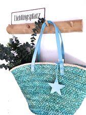 Boho Korbtasche Vintage Tasche Markttasche Korb Blau mit Stern Anhänger NEU