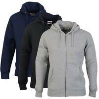 Mens Zip Up Hoodie Hooded Top Plain Hoody Fleece Jacket Size XS S M L XL XXL