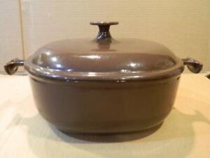 "Le Creuset France ""La Mama De Enzo Mari"" # 25 Brown Covered Two Handle Pot"