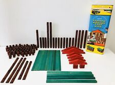 Vintage Lot Wood Lincoln Logs 113 Pieces + Box Western Play Building Toys Usa