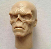 1/6 Man Head Unpainted Red Skull Smith Hugo Vivian Sculpt Carved Fit Action Doll