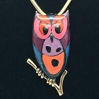 Eisenberg Artist Series 70's Enamel Owl Pendant w/GoldTone Snake Chain Necklace