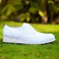 Mens Handmade Shoes White Derby Lace Up Formal Dress Casual Wear Calf Skin Boots