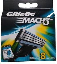 Gillette Mach 3 Cartridges 8 Razor Blades Shaving (1 Set of 8) Genuine Mach3 NEW