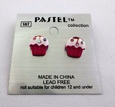 Pink raspberry cupcake post earrings white icing colored crystals