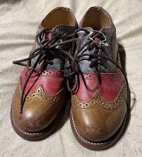 Bed Stu Cobbler Series Lita Oxford Shoes In Tan Teak Navy & Scarlet Size 7 NWOB