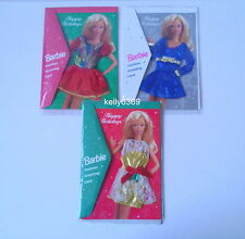 BARBIE Doll Fashions **3 HAPPY HOLIDAYS GREETING CARDS** Clothes Dress NEW