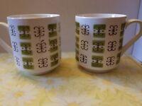 VINTAGE MIKASA CERA-STONE ELMIDA DESIGN COFFEE CUPS lot of 2