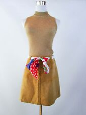 Italian Designer Women's Vtg Casual Look Retro Tan Leather Suede Skirt sz S BC9