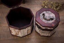 Vintage Style World Map Pattern Wooden Octagon Jewelry Treasure Box Storage O...