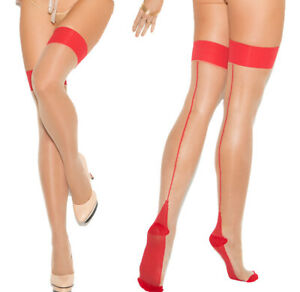 Elegant Moments Red/Nude Cuban Foot Sheer Thigh High Stockings O/S
