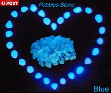 100pcs Glow in the Dark Stones BLUE - Pebbles Garden Walkway Aquarium Decor BO