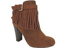 Material Girl Women's Persia Fringe Dress Boots - Booties Cognac Size 5.5 M