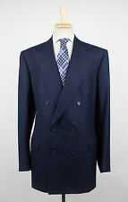 New. BRIONI Flaminio 21 Navy Blue Wool Double Breasted Suit Size 58/48 L $6375