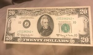 1963-A  STAR $20 Federal reserve note , Kansas City district , VF / XF