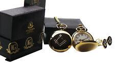 More details for masonic gold freemason pocket watch cufflinks luxury set gift box masonic no g