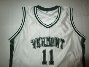 VERMONT UNIVERSITY MEN'S BASKETBALL JERSEY WHITE GREEN XXL 2XL USED POLYESTER