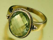 R277 Genuine 9K Solid Yellow Gold Natural Large GREEN AMETHYST Ring size N -6.75