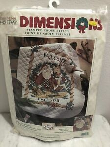 """Vtg. Dimensions Stamped Cross Stitch """"Santa's Welcome Quilt"""" 34"""" X 43"""" NEW"""