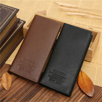Mens Long Casual Leather Black Wallet Pockets Card Clutch Cente Bifold Purse New