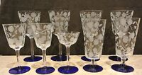 Set of 9 Engraved Clear Glass Cobalt Blue Base Stemmed Glasses. Wine. Champagne